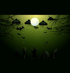 Zombie hands and old trees on full moon background vector