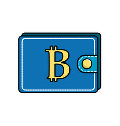 Bitcoin symbon in the wallet to save money vector