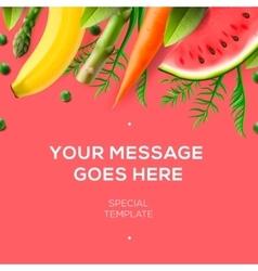 Fresh fruit and vegetables restaurant menu vector image vector image