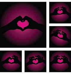 hands heart set vector image