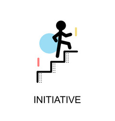 initiative logo and man with stairs on white vector image