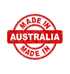 Made in australia red stamp on white background vector