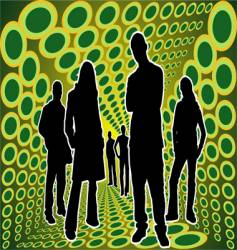 silhouettes people in green box vector image