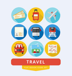 travel icons set flat design vector image