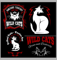 black and white cats - set template vector image vector image