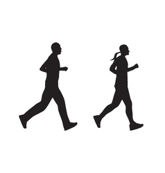 Black silhouette of running people Man and woman vector image vector image