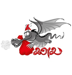 cheerful dragon in santas hat vector image vector image