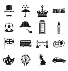 Great Britain icons set simple style vector image vector image