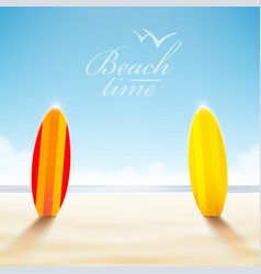 surfboards on a beach vector image