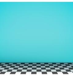 Turquoise empty scene with checkerboard floor vector image