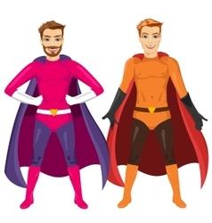 two young men in superhero costume vector image