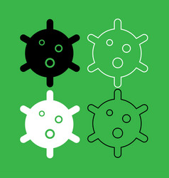 virus icon black and white color set vector image vector image