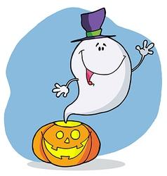 Cartoon Character Happy Ghost Pumpkin Leaves vector image