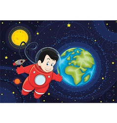 Cute astronaut flying in space vector