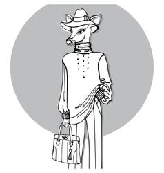 Hand drawn deer hipster girl in pantsOutline vector image