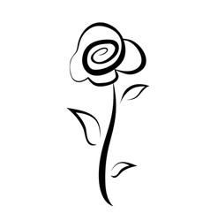 hand drawn rose flower symbol isolated sketch vector image vector image