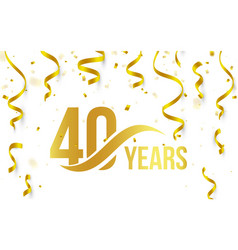 isolated golden color number 40 with word years vector image vector image