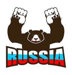 Russian bear Angry beast predator and Russia flag vector image