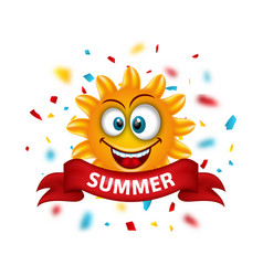 summer banner with cartoon smiling sunny vector image vector image