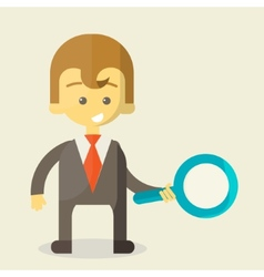 Businessman with a magnifying glass looking for vector image