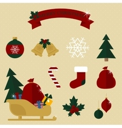 Colourful Christmas set in traditional colours vector image vector image