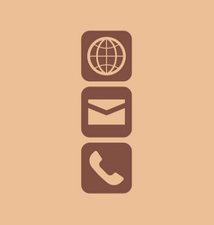 globe email and phone icon vector image