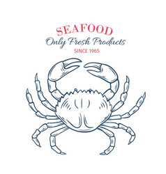 hand drawn crab icon vector image vector image