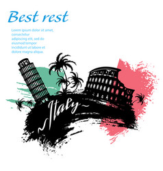 italy travel grunge style vector image vector image