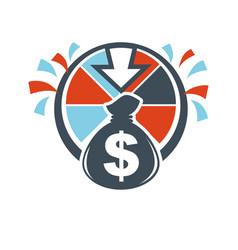 lottery winnings money bag hand drawn logotype vector image