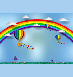 paper cut heart shape with rainbow and balloons vector image