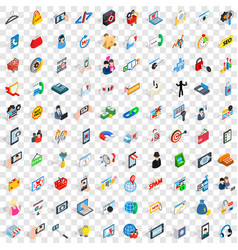 100 mobile icons set isometric 3d style vector image