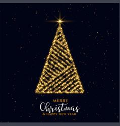 2019-febrbeautiful golden sparkle christmas tree vector image
