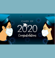2020 graduates students in medical mask vector image