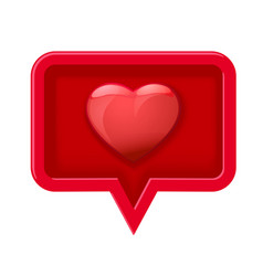 3d icon speech bubble with heart vector