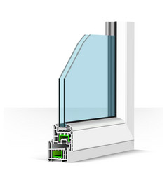 3d plastic window profile on vector