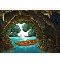 A boat in the cave vector