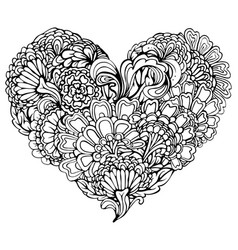 Abstract black paisley ornament in heart shape vector