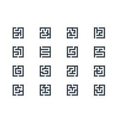 Abstract maze symbols vector image