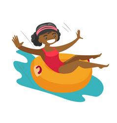 African-american woman having fun in waterpark vector