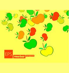 apple frame card design with apple and leaf vector image