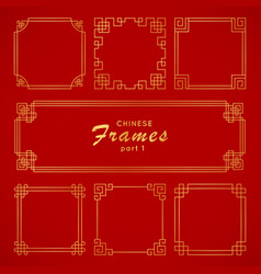 asian frame set in vintage style on red background vector image