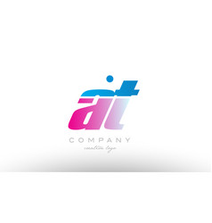 at a t alphabet letter combination pink blue bold vector image