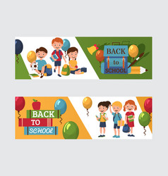 back to school 1 september banners with boys and vector image