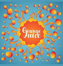 banner orange juice juice splashes and drops vector image