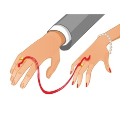 Betrothal ceremony with red ribbon vector