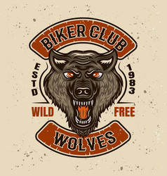biker club colored emblem with wolf head vector image
