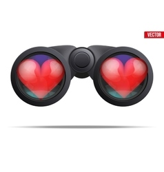 Binoculars with heart on lens vector