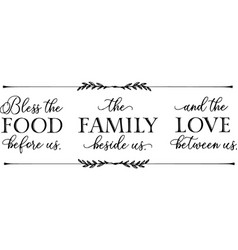 Bless food before us typography letter quotes vector