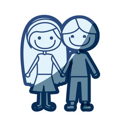 Blue silhouette of caricature couple kids in vector