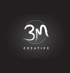 Bm brush letter logo design artistic handwritten vector